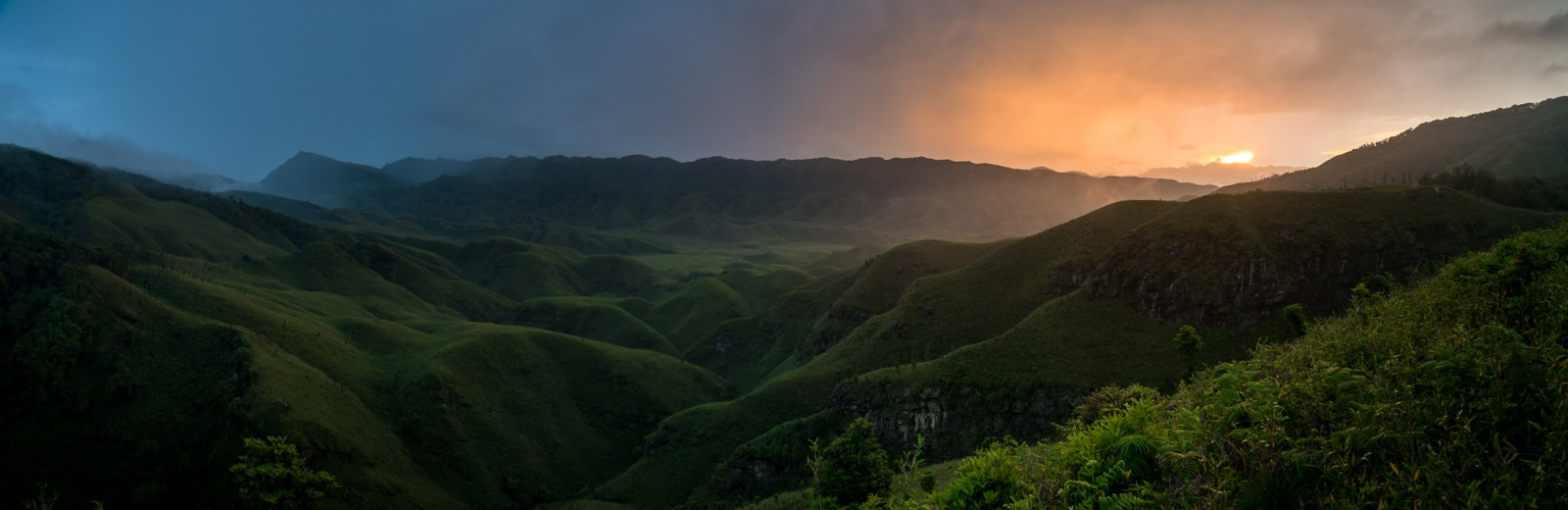 How to get to Dzukou Valley from Nagaland, India - Hot and cold colors in a panorama at sunset - Lost With Purpose