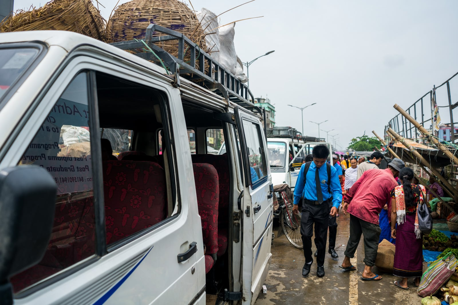 How to get from Imphal to Loktak Lake in Manipur, India - The line of shared taxis to Moirang on Loktak Lake - Lost With Purpose travel blog