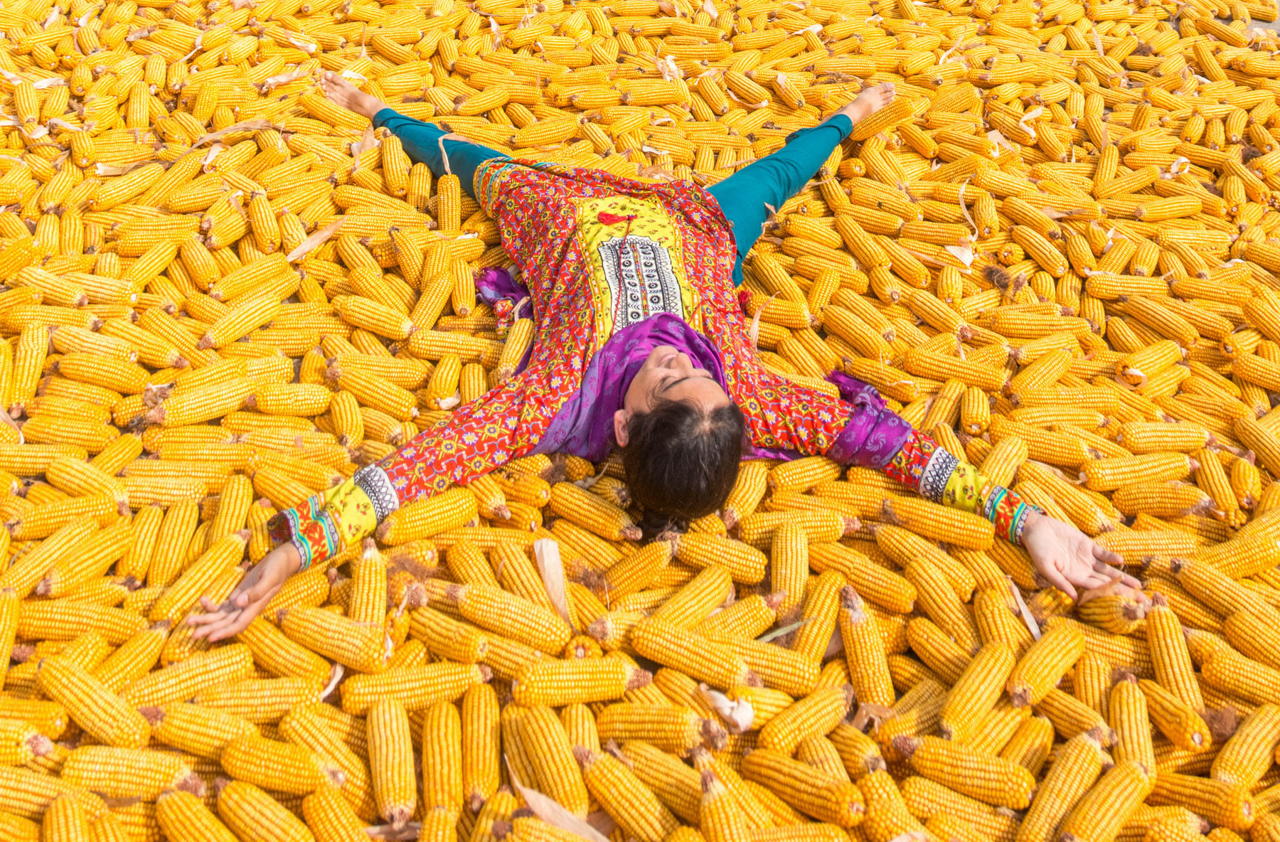 How to stop sweating while traveling - Patterned clothes in a sea of yellow corn - Lost With Purpose