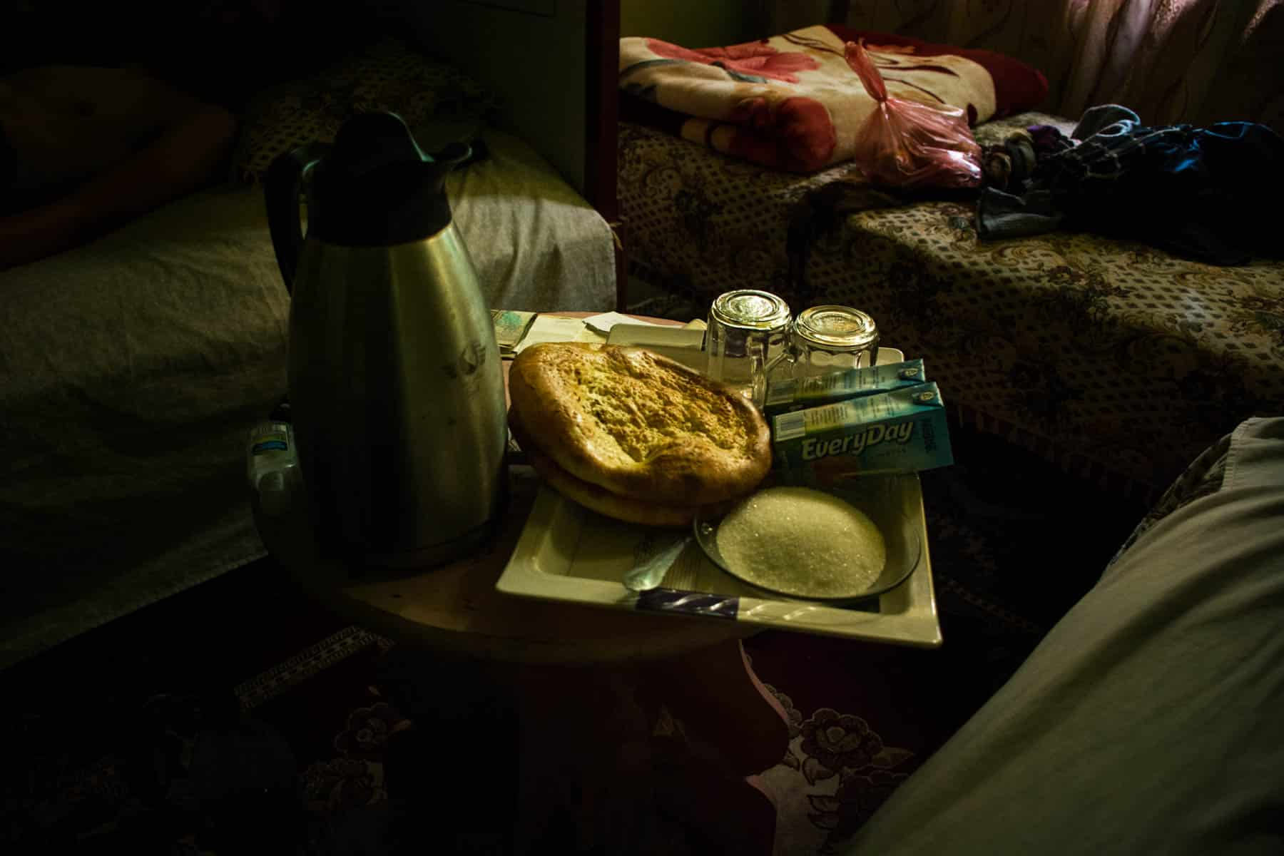 Photos of Mazar-i-Sharif, Afghanistan - Afghan breakfast of bread, cream, and green tea - Lost With Purpose