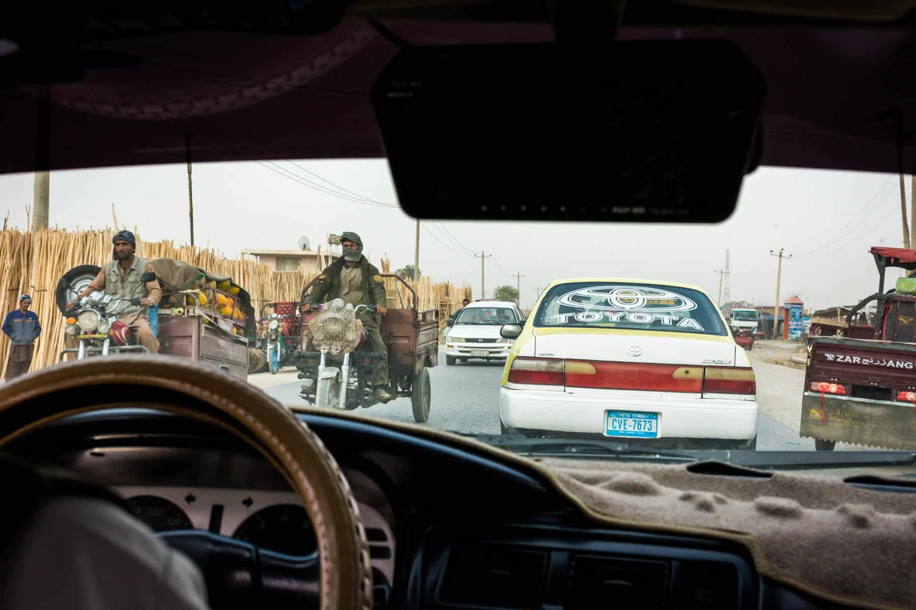 Photos of Mazar-i-Sharif, Afghanistan - View through the windshield of a taxi driving to Balkh, Afghanistan - Lost With Purpose
