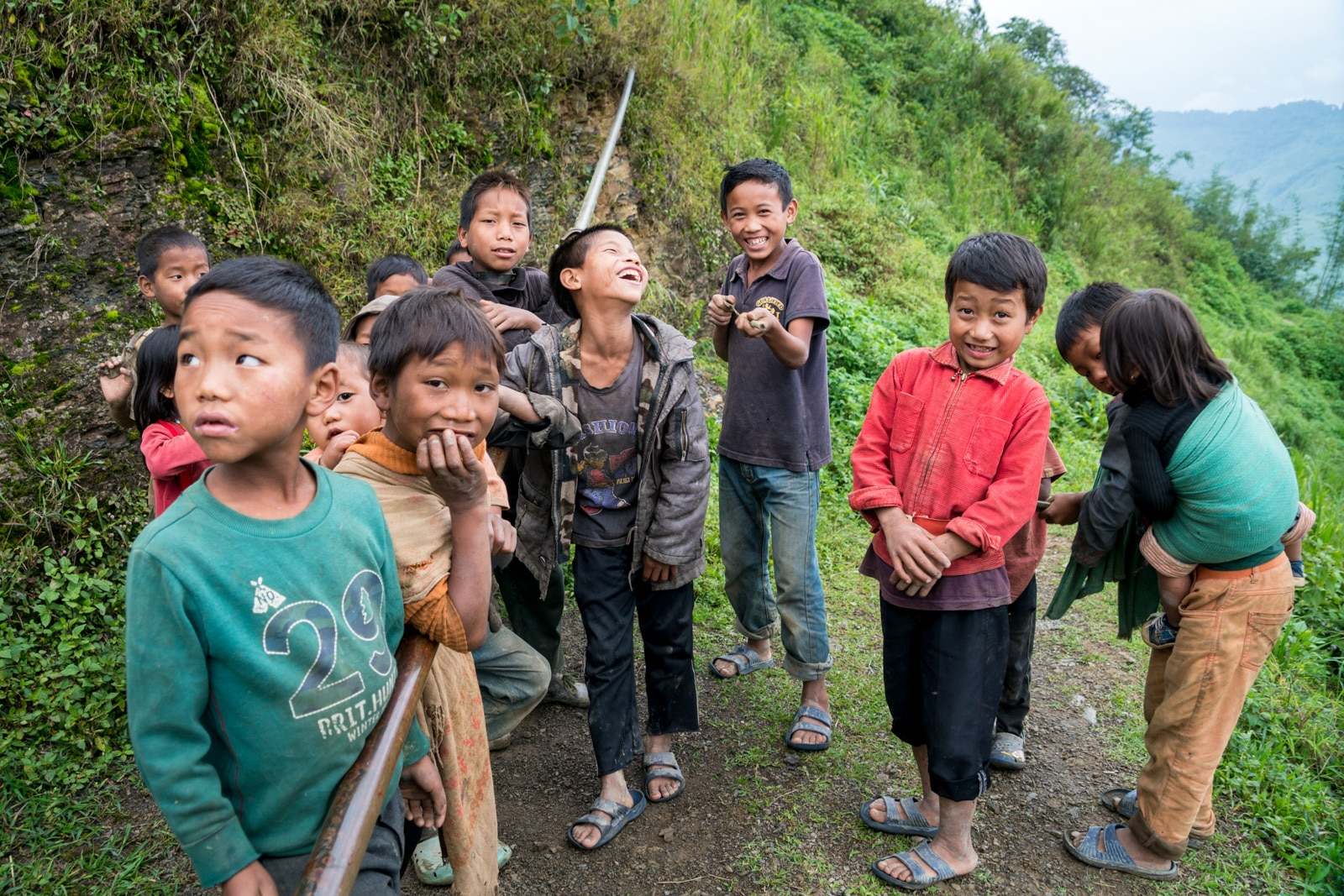 Snapshots of traditional culture in Longwa village, Nagaland, Northeast India - Group of boys in Longwa - Lost With Purpose Travel Blog