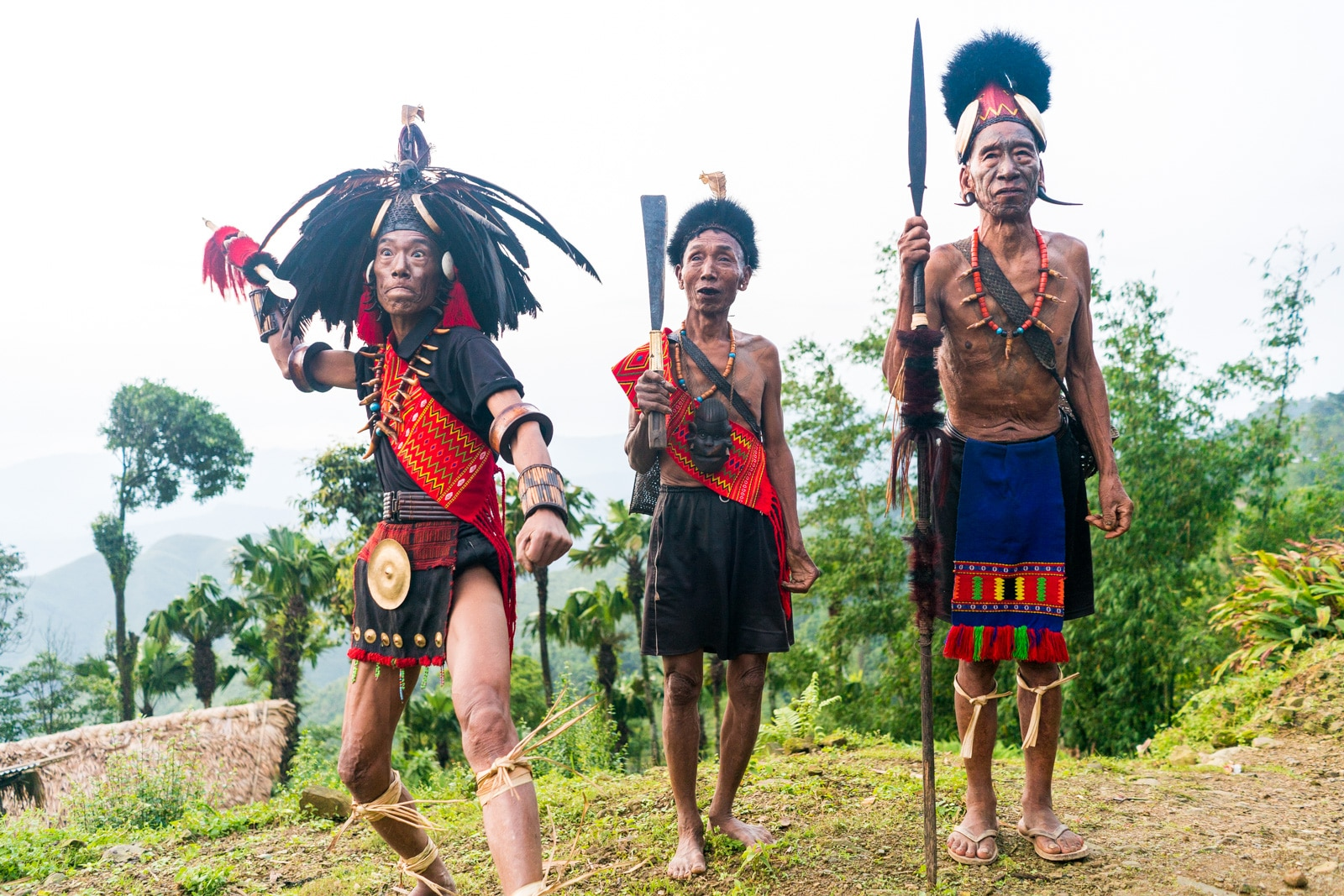 Snapshots of traditional culture in Longwa village, Nagaland, Northeast India - Line of warriors in Longwa - Lost With Purpose Travel Blog