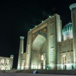 Things you need to know before traveling to Uzbekistan - The Registan in Samarkand at night - Lost With Purpose