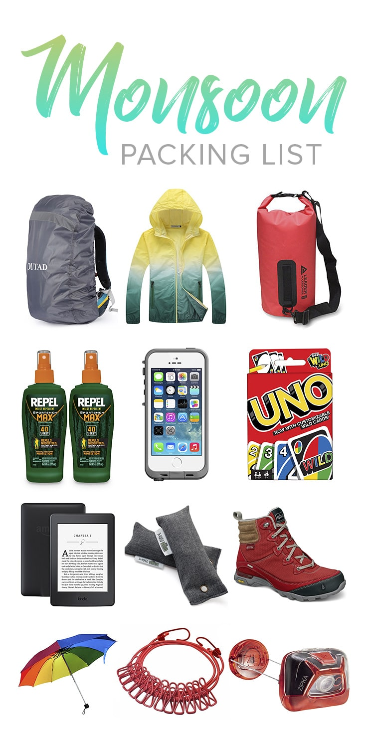Looking to travel in monsoon? Wondering what you need to pack for monsoon travel? Here's a monsoon travel packing list, with all the essentials to keep you high and dry during the monsoon season. Useful for anyone traveling to Southeast Asia, South Asia, or anywhere tropical and wet!