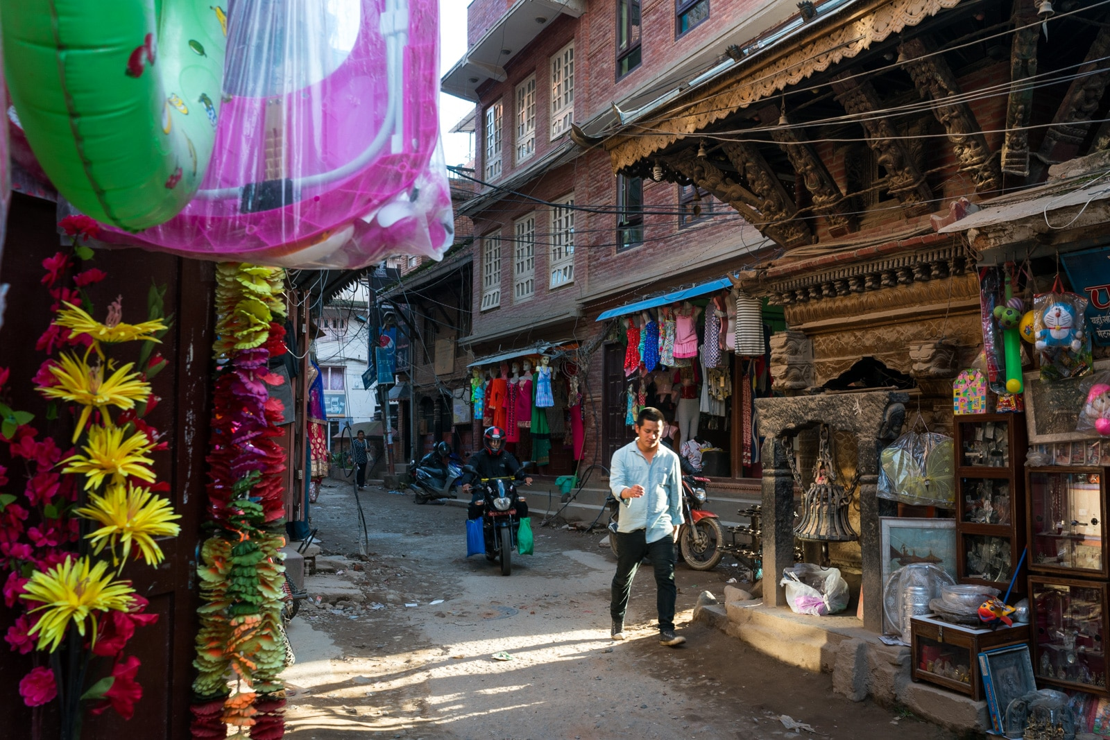 Traveling in Patan, Nepal during monsoon - Sunlight on the streets of Patan - Lost With Purpose travel blog