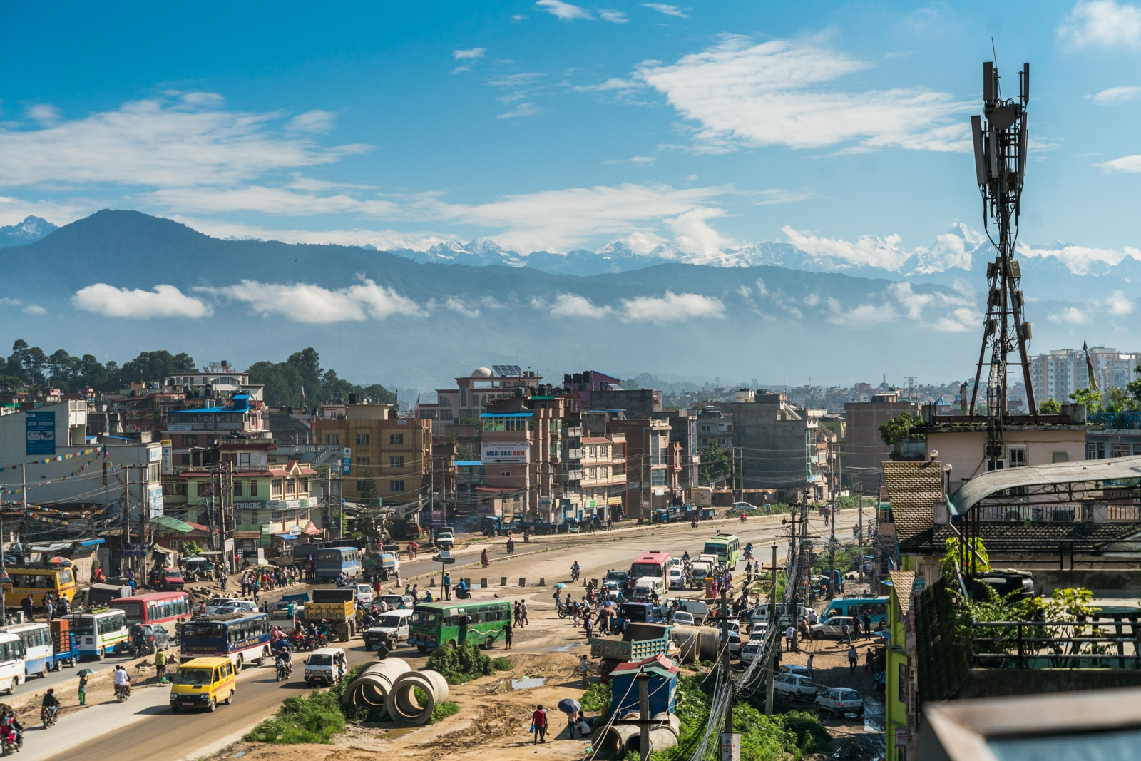 What it's like to travel in Nepal during monsoon - Some snow capped mountains visible from Patan, Nepal - Lost With Purpose travel blog