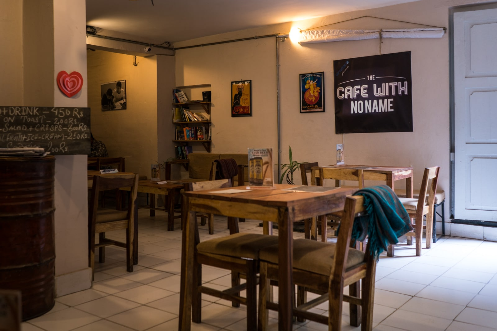 Places for digital nomads to work in Thamel neighborhood, Kathmandu, Nepal - Cafe with No Name interior - Lost With Purpose travel blog