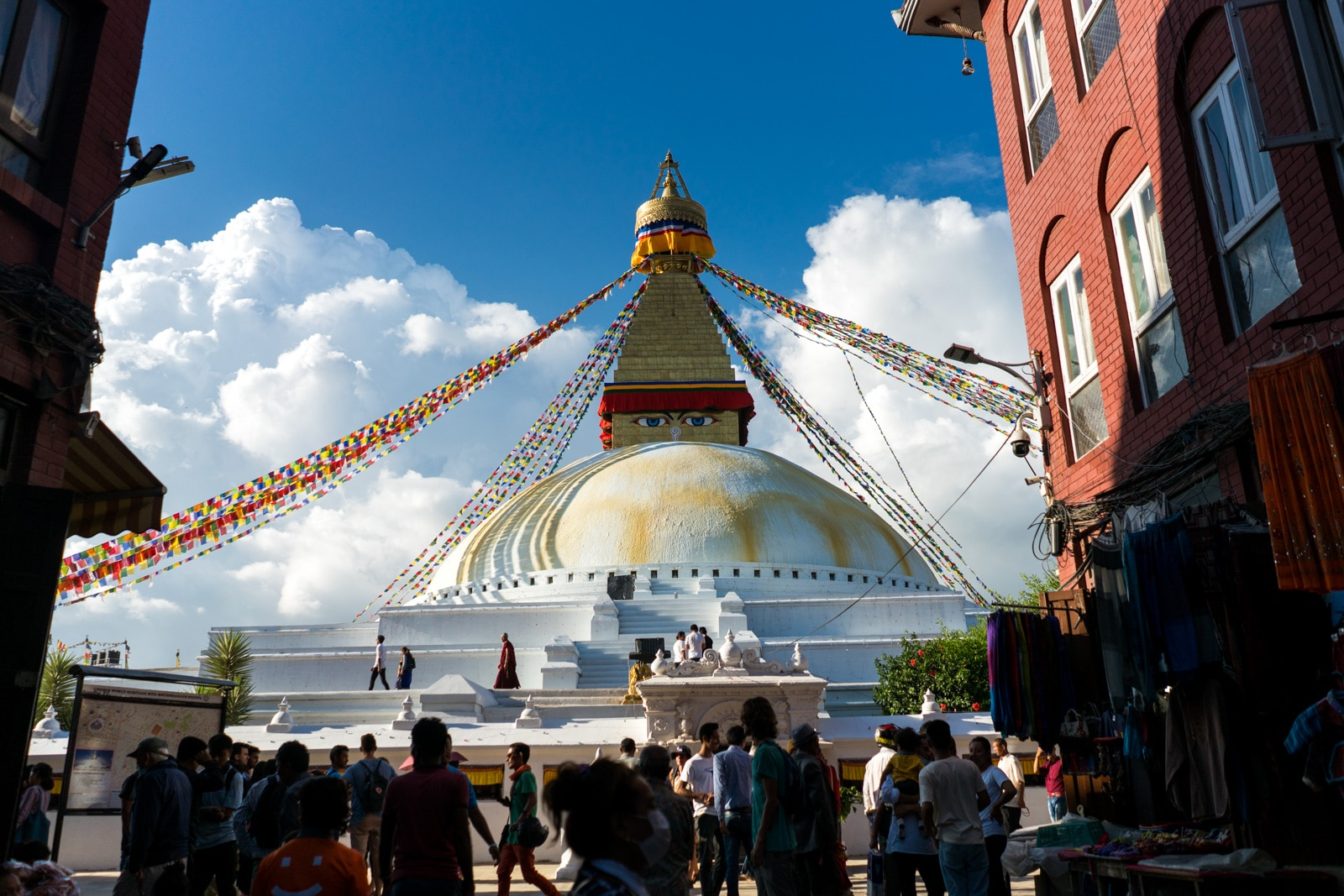 Traveling during monsoon in Nepal - Boudhanath stupa in Kathmandu - Lost With Purpose travel blog