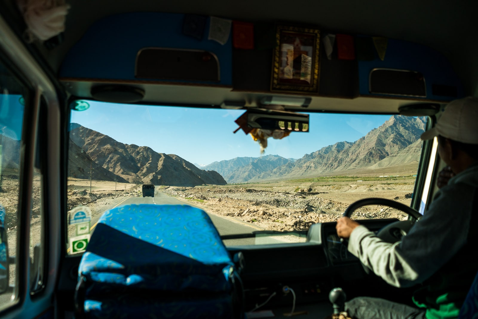 Hitchhiking the Leh - Manali highway in India - View of Ladakh from a minibus interior - Lost With Purpose travel blog