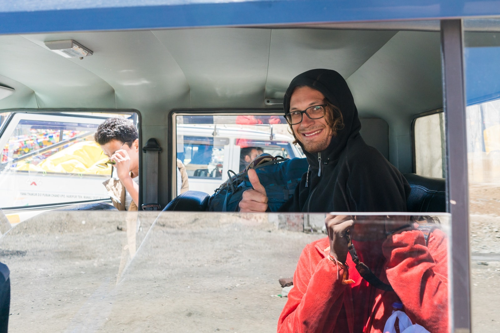 Hitchhiking the Leh - Manali highway in India - Sebastiaan inside a truck - Lost With Purpose travel blog