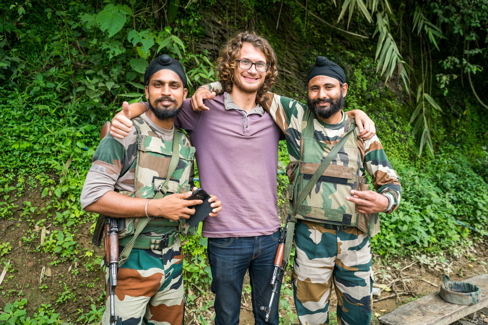 Why you need to travel to Northeast India ASAP - Sebastiaan and army men in Manipur state - Lost With Purpose travel blog