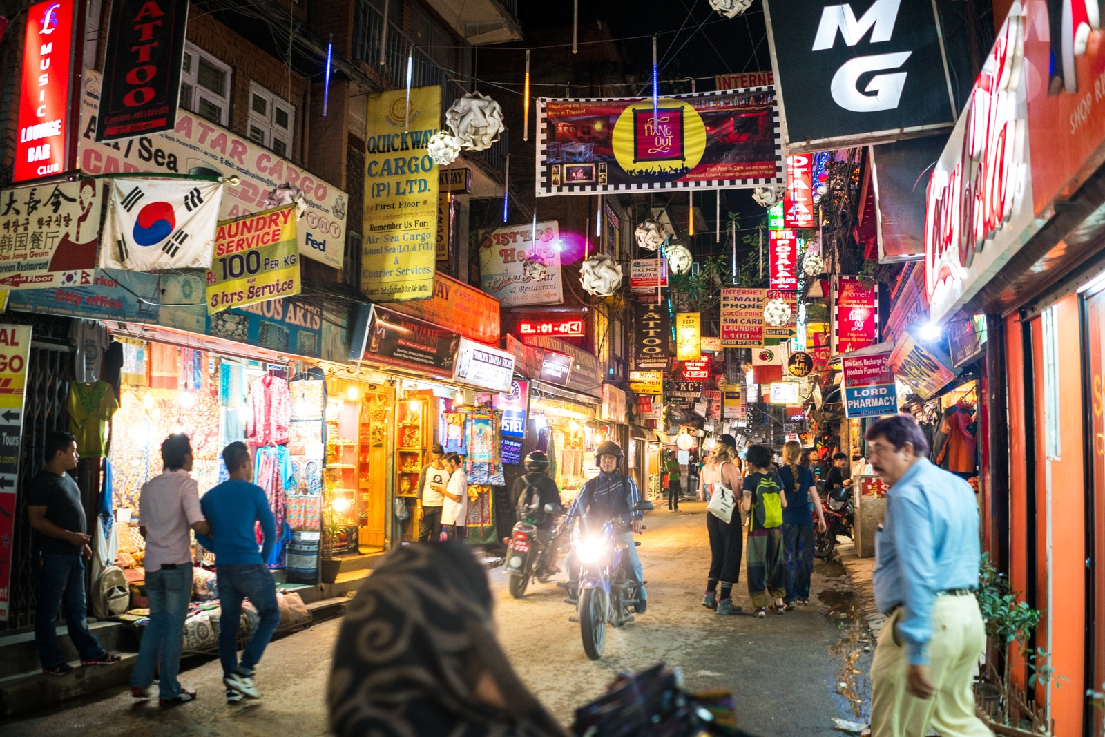 Best wifi in Thamel, Kathmandu for digital nomads - Thamel at night - Lost With Purpose travel blog