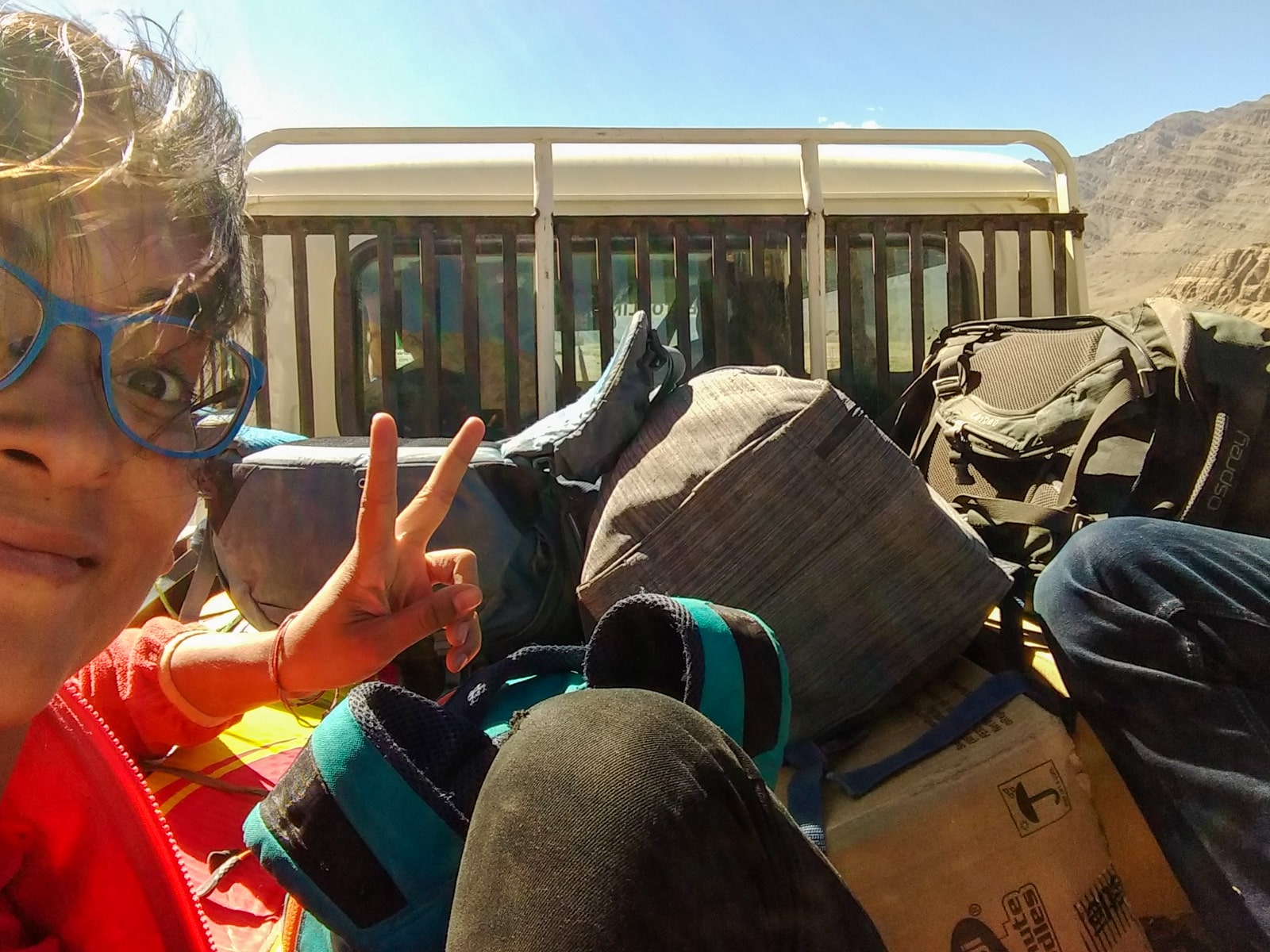 Hitchhiking the Leh - Manali highway - Sitting in a pickup truck - Lost With Purpose travel blog