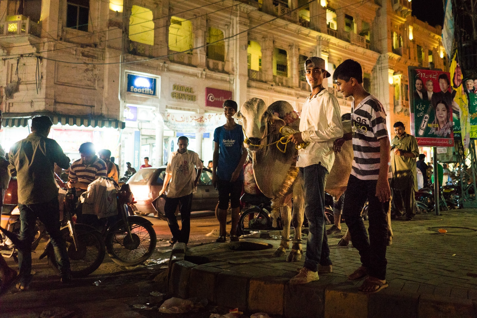 Celebrating Eid al-Adha in Lahore, Pakistan - Boys and a cow on Mall Road - Lost With Purpose travel blog