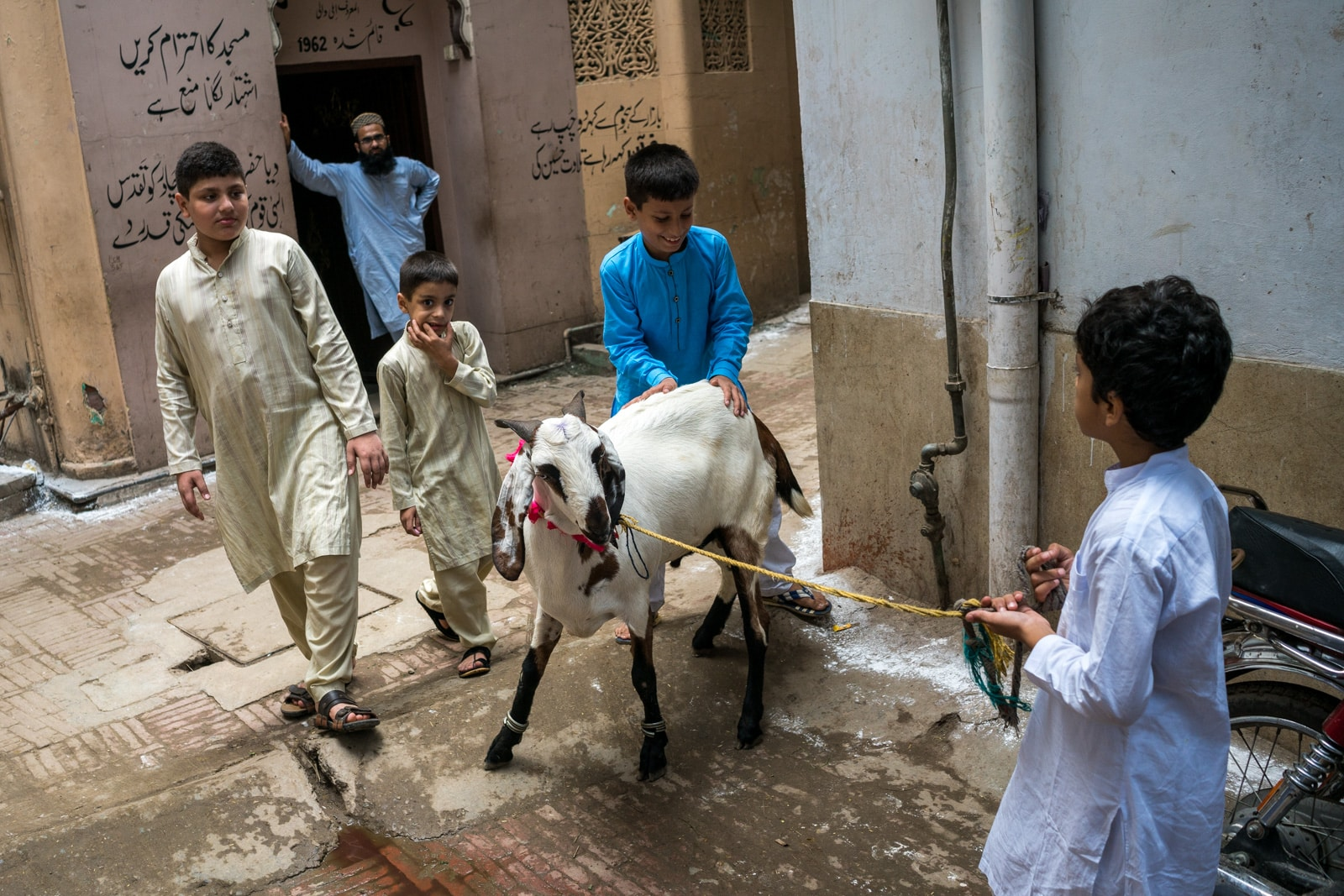 Celebrating Eid al-Adha in Lahore, Pakistan - Boys running a goat on a rope through the streets - Lost With Purpose travel blog