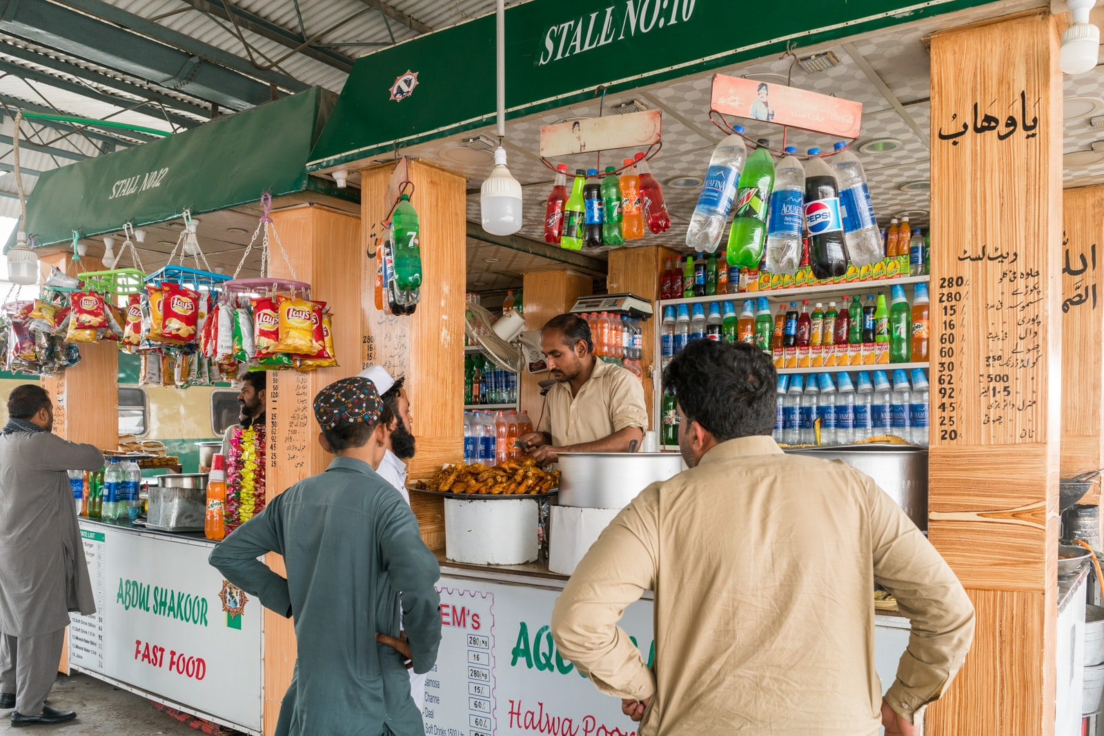 Food stall at a train station in Sindh, Pakistan