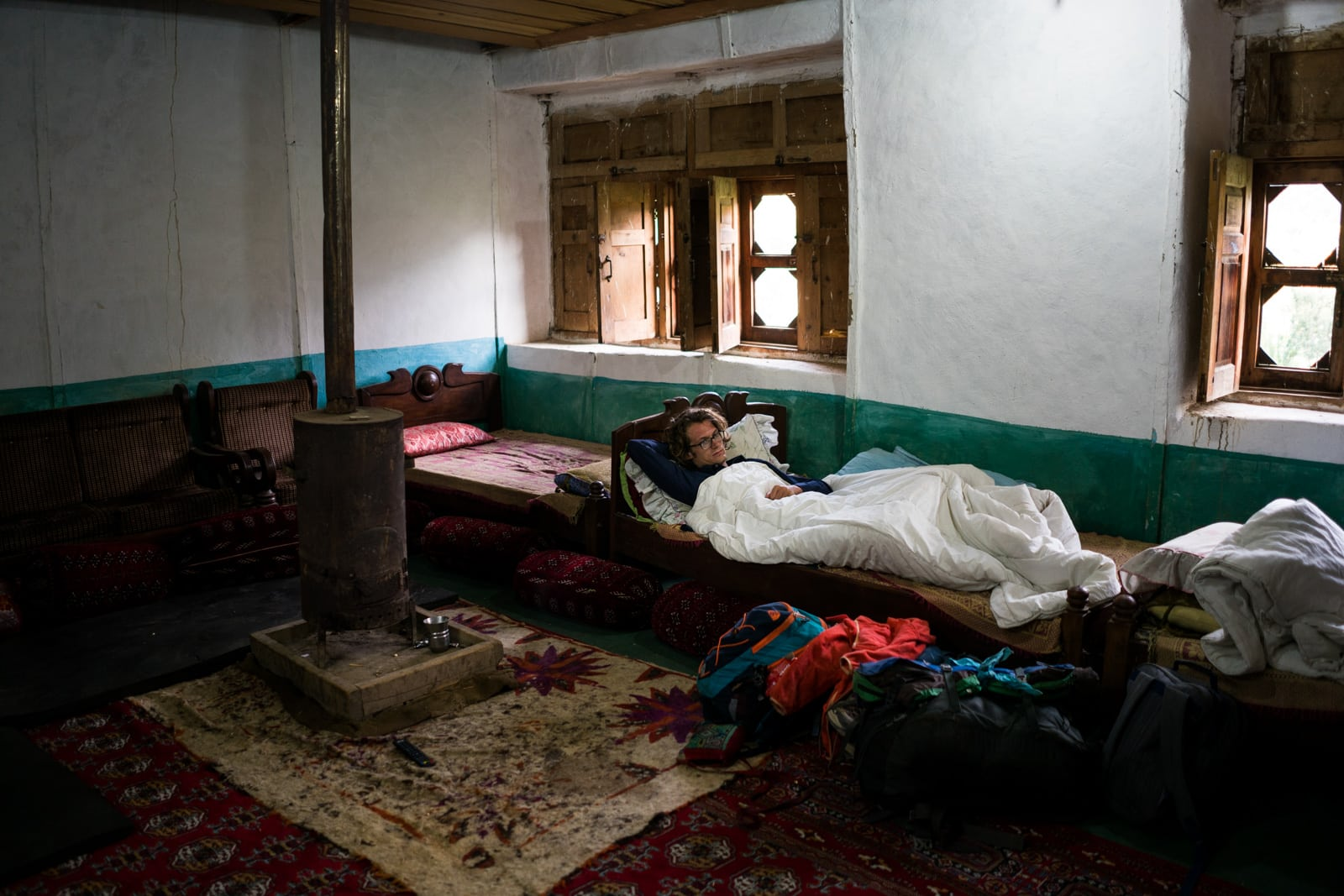 The great divide in Thall, Pakistan - Guest area in Thall house - Lost With Purpose travel blog