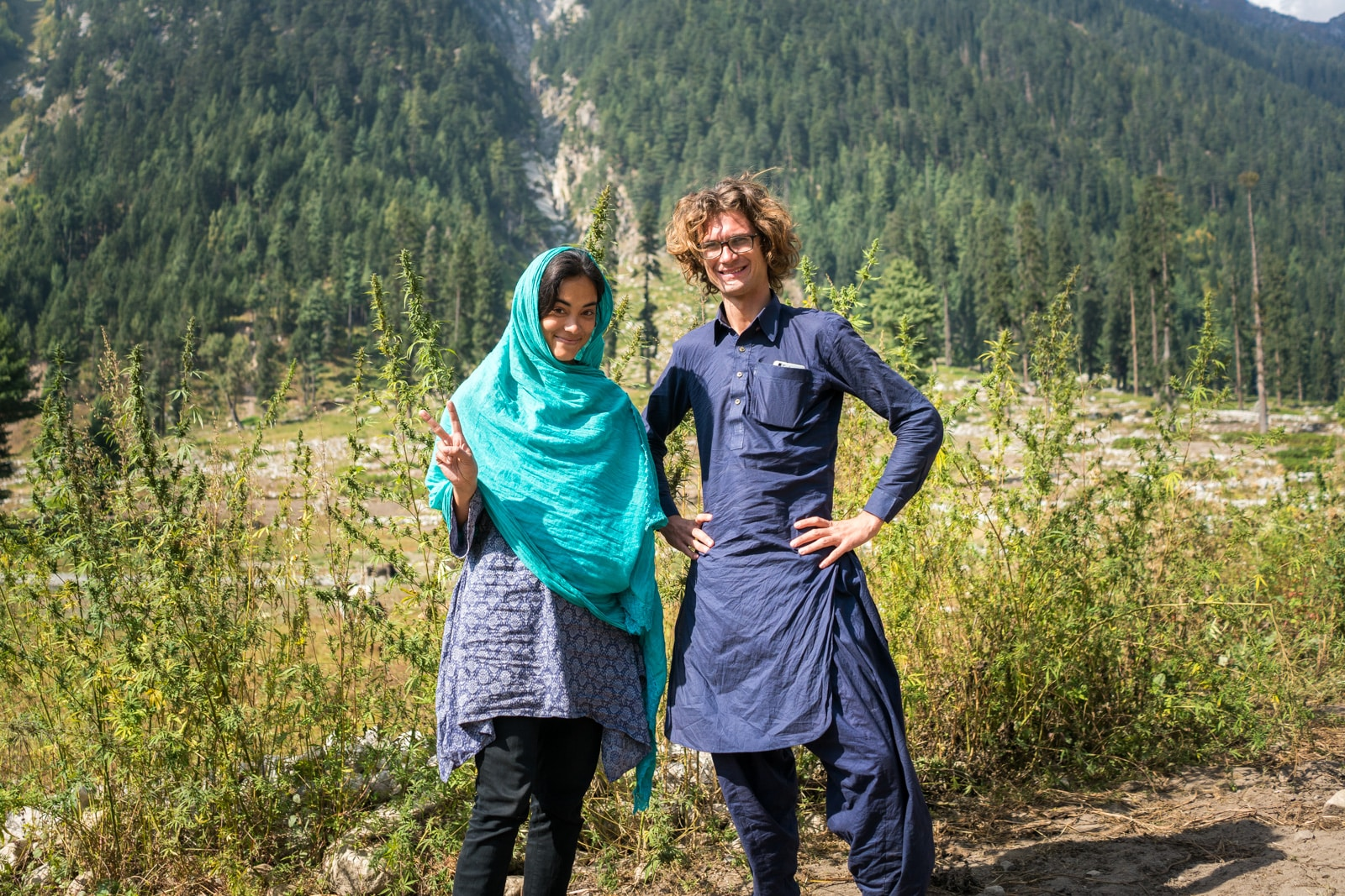Two foreign tourists in Kumrat Valley in Pakistan
