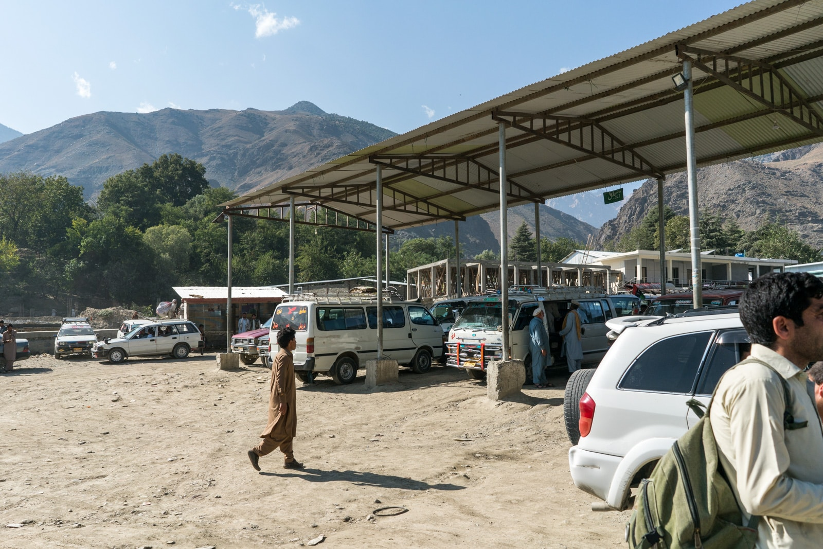 Chitral central bus stand with cars to Ayun