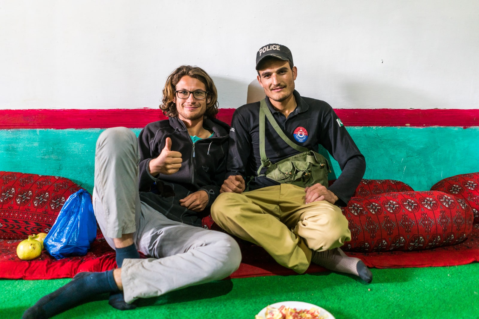 How to get from Chitral to the Kalash Valleys - Tea with our police escort - Lost With Purpose travel blog