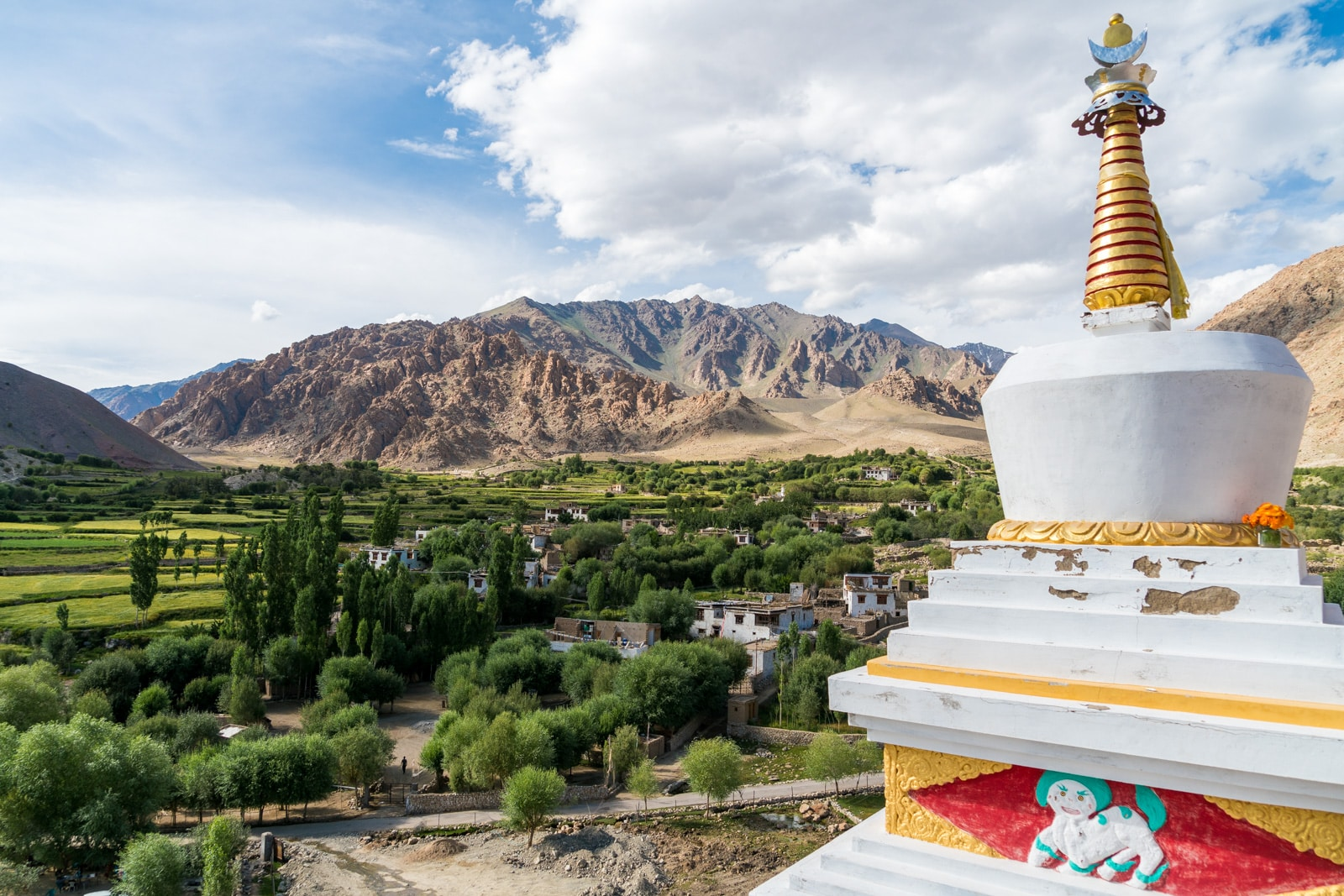 Short 3-day itinerary and guide to the Sham Valley trek in Ladakh, India - Stupa in the green village of Hemis Shukpachan - Lost With Purpose travel blog