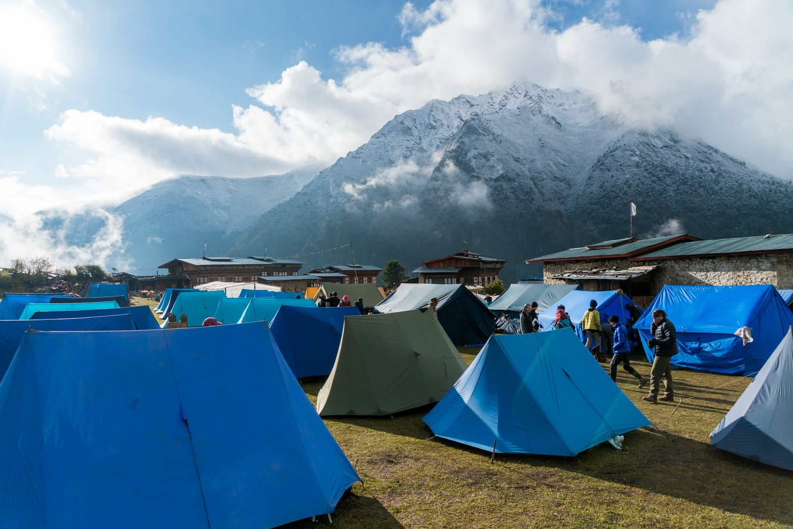 How to get to the Royal Highlander Festival in Bhutan - A tour company's tent camp in Laya - Lost With Purpose travel blog