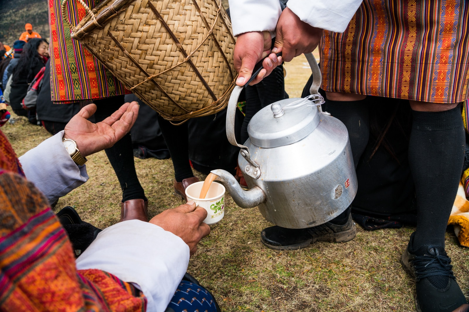 Food at the Royal Highlander Festival in Bhutan - Free tea and snacks handed out at the festival - Lost With Purpose travel blog
