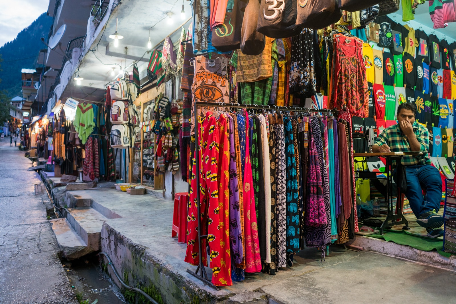 Guide to weed in India - Tacky pants on sale at souvenir stalls in Old Manali, the backpacker area - Lost With Purpose travel blog