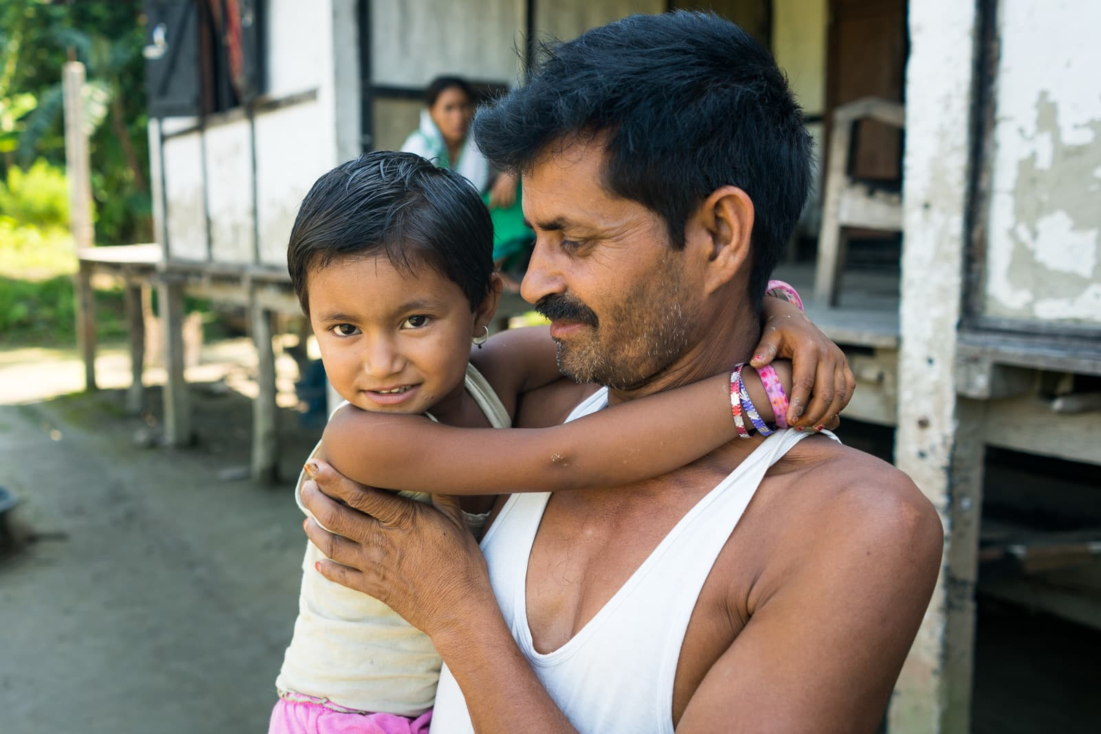Daughter and father on Majuli river island in Assam, India - Lost With Purpose travel blog