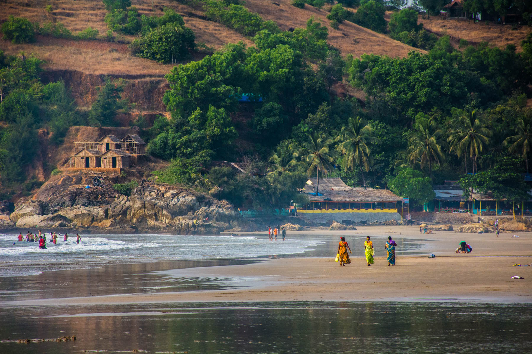 Guide to smoking weed in India - Women walking on Kudle beach in Gokarna, Karnataka - Lost With Purpose travel blog