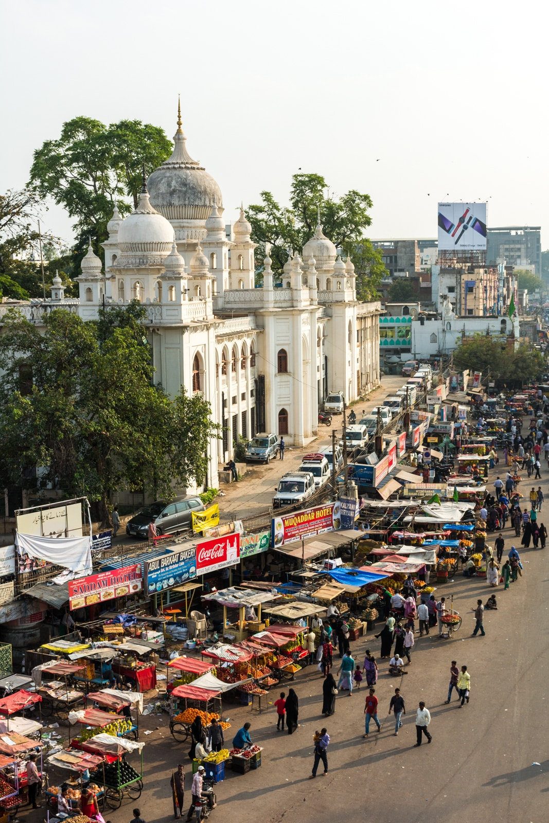 A view of the buzzing market around Hyderabad, India's old city from the top of the Charminar monument.