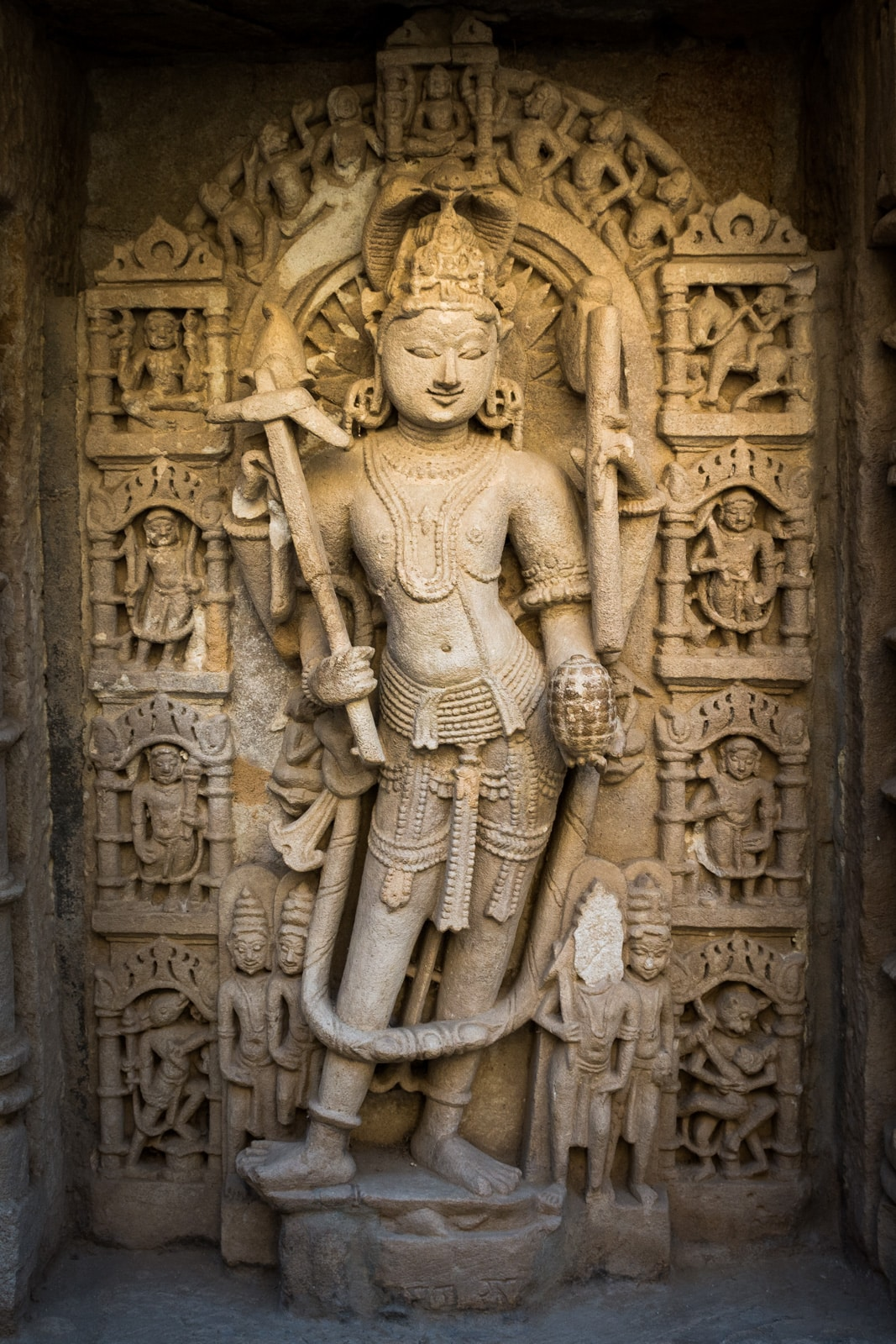 A well-preserved carved statue in Rani Ki Vav stepwell in Patan, Gujarat state, India.