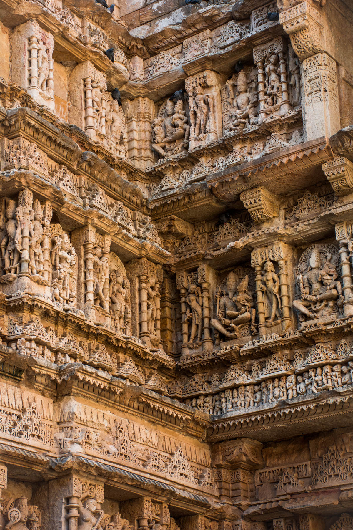 Carved details in Rani Ki Vav stepwell, one of India's most beautiful stepwells in Patan, Gujarat state.