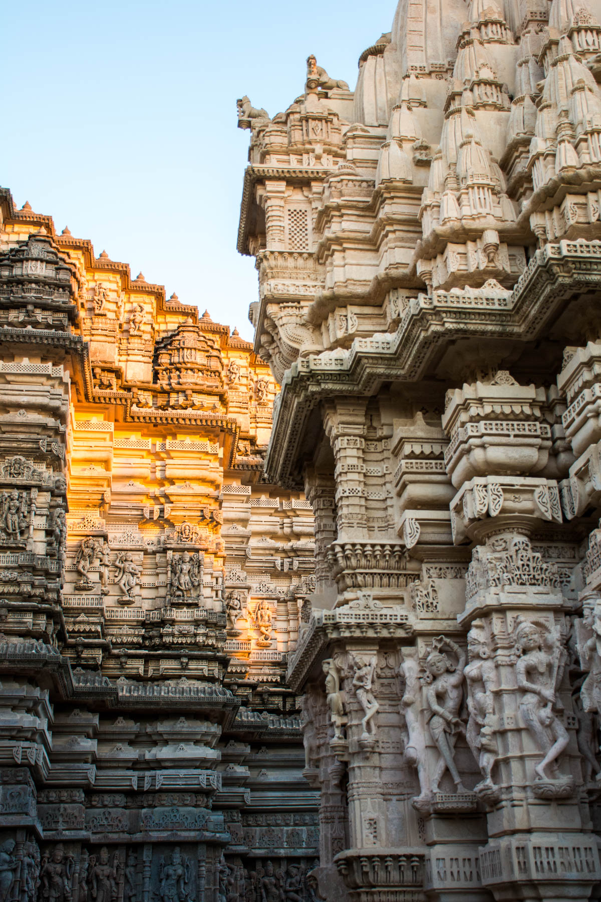 Intricately carved details on the sides of a Jain temple in Palitana, Gujarat state, India.