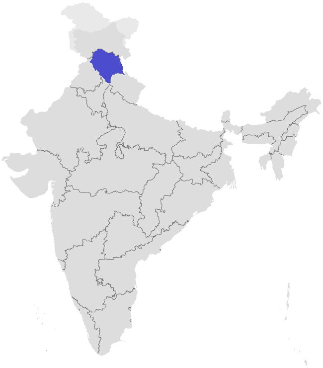 Where to smoke weed in India - Map of India with Himachal Pradesh highlighted - Lost With Purpose travel blog