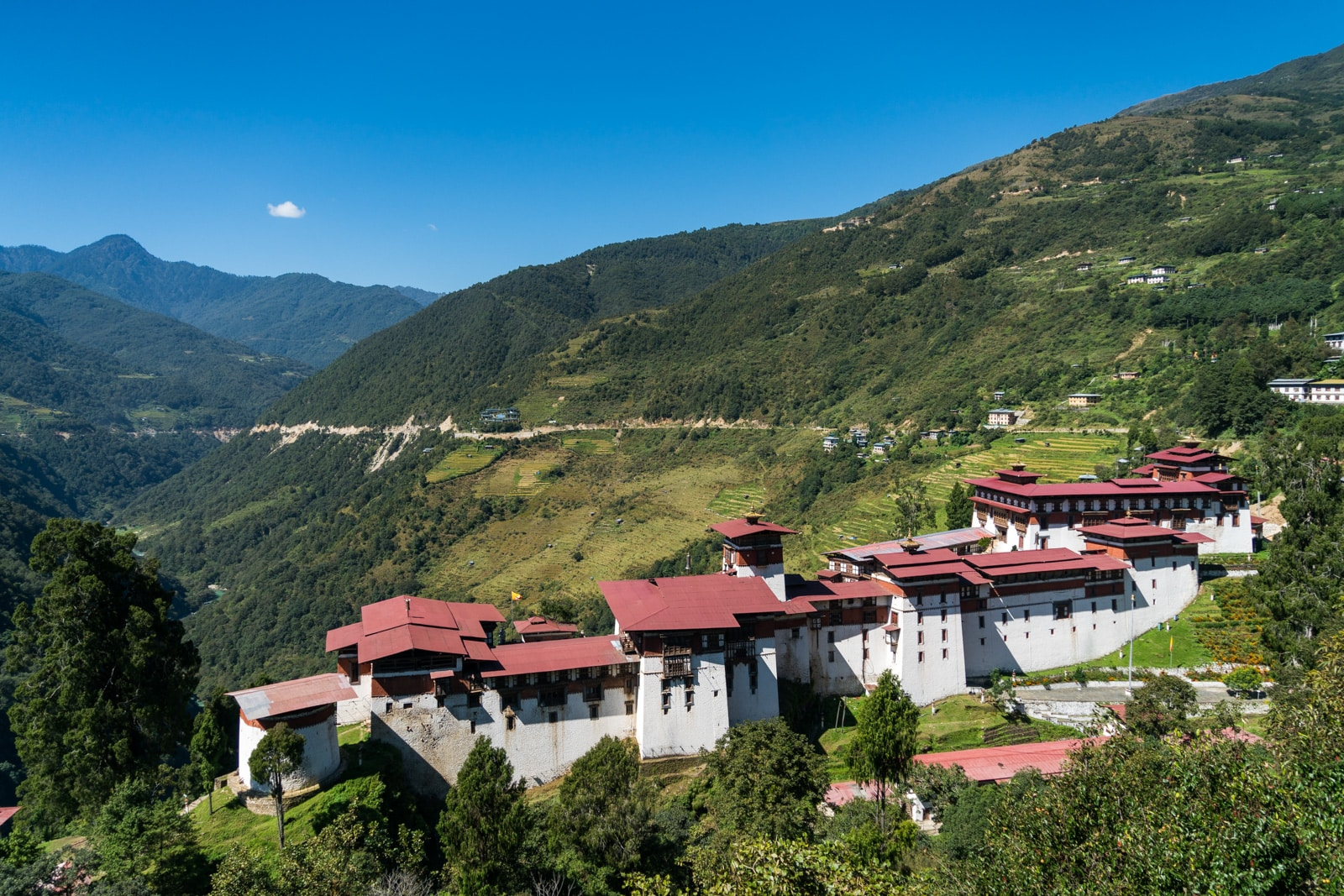 Do I need a tour guide in Bhutan - Trongsa dzong as seen from a hotel balcony - Lost With Purpose travel blog
