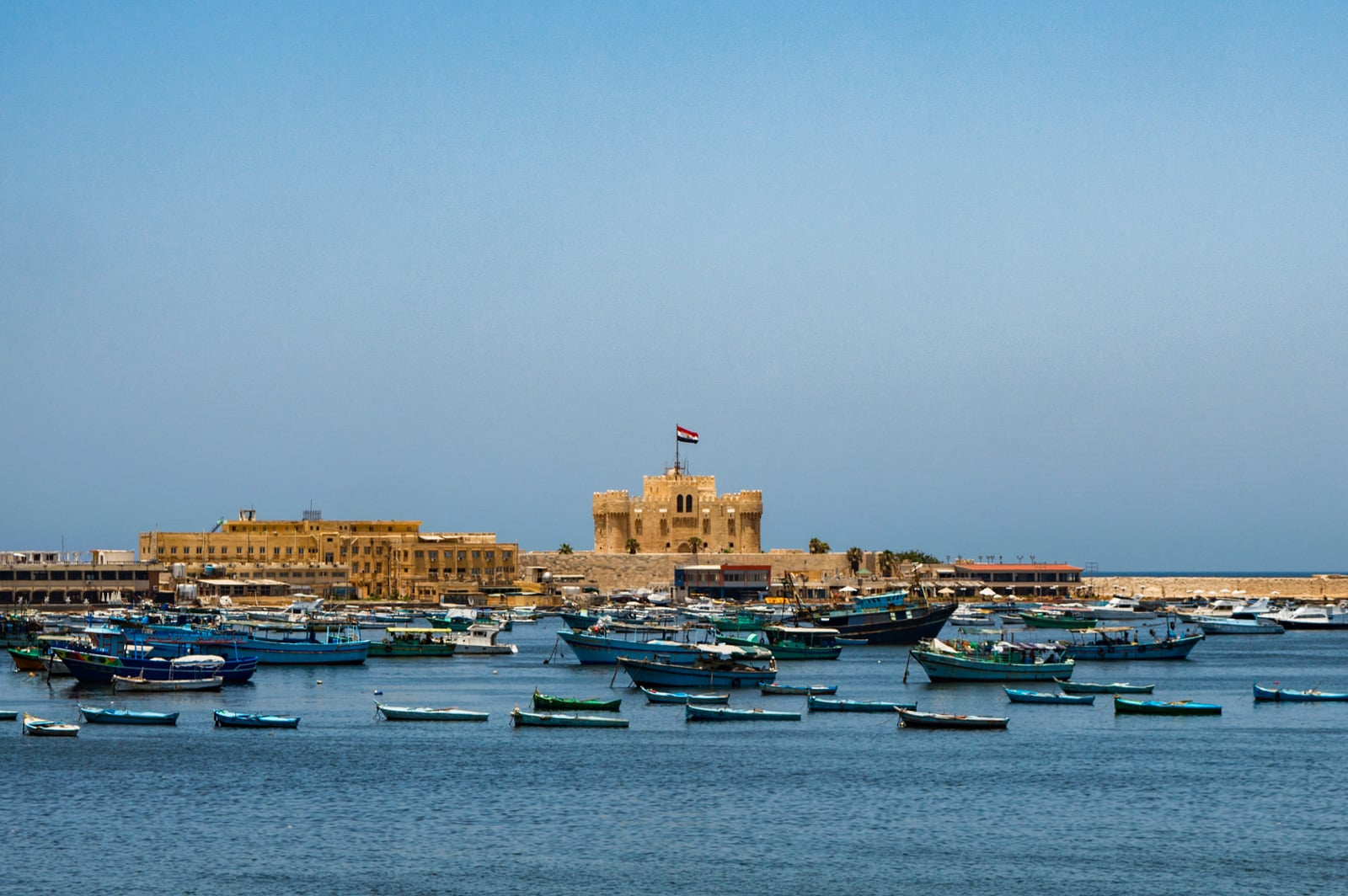 Fort Qaitbey, built where the Lighthouse of Alexandria once stood. Photo by ASaber91.
