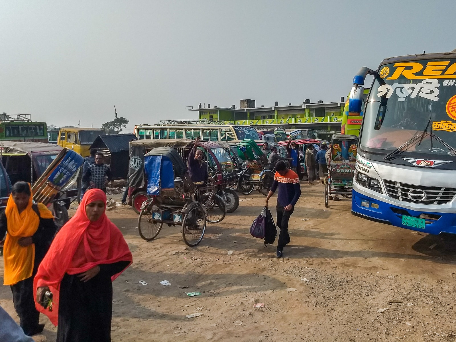 How to get from Khulna to Bagerhat by bus - Sonadonga bus station in Khulna - Lost With Purpose travel blog