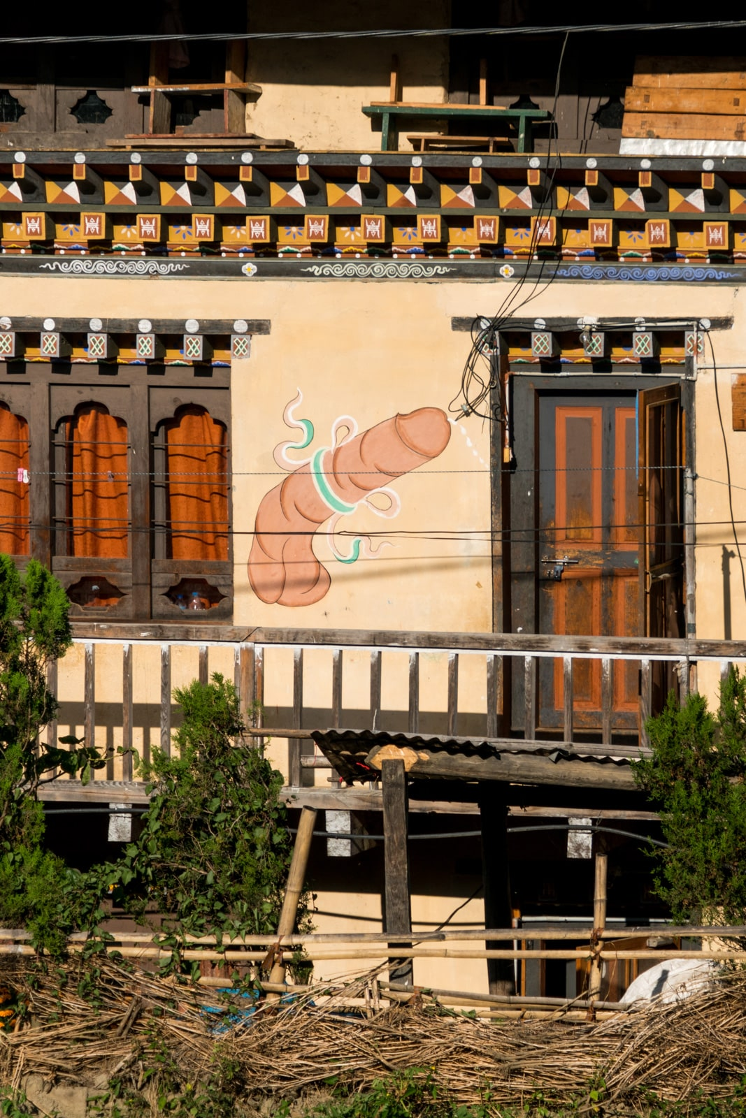 A phallus painted on the side of a house in Bhutan.