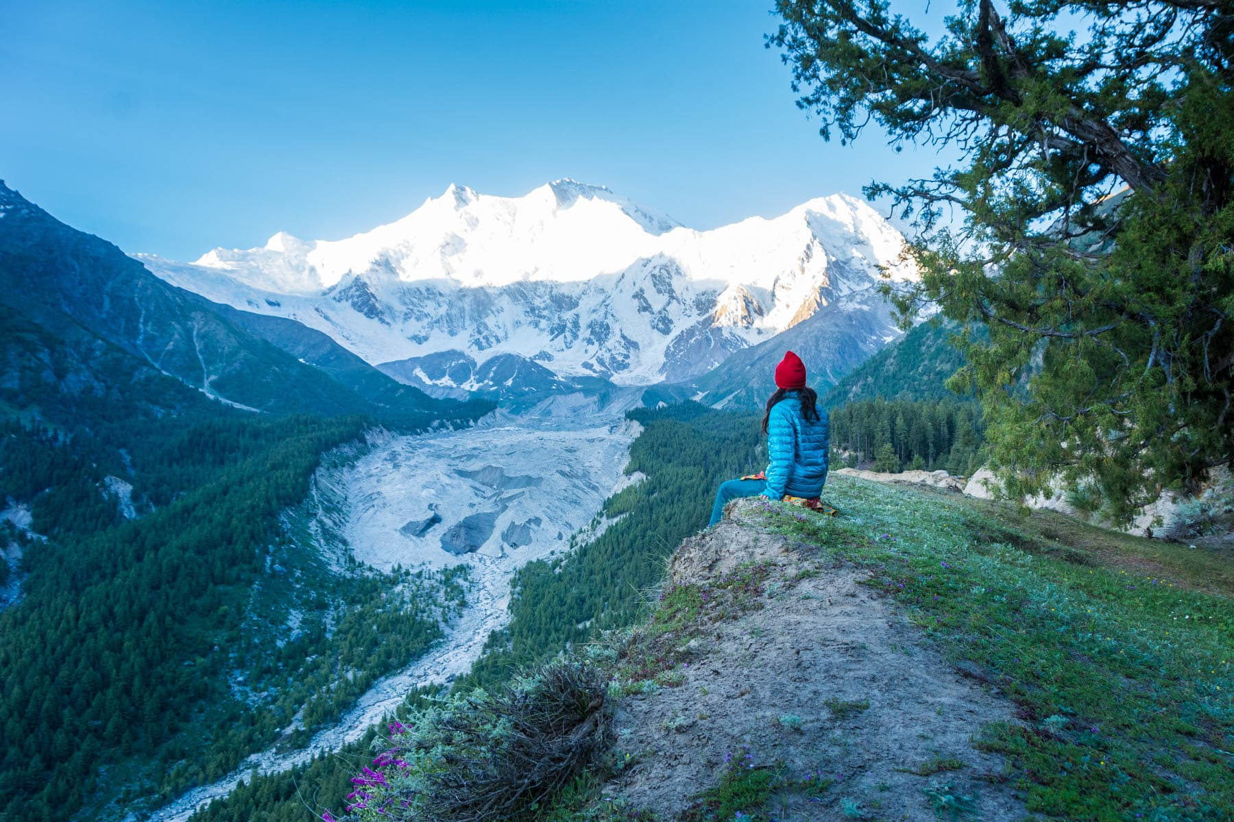 Breaking up on the road - Alex alone looking out over Nanga Parbat mountain from Fairy Meadows, Pakistan - Lost With Purpose travel blog