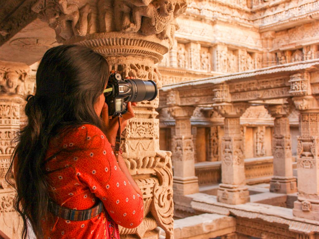Solo female travel - Shooting photos of Rani Ki Vav stepwell in Gujarat, India - Lost With Purpose travel blog