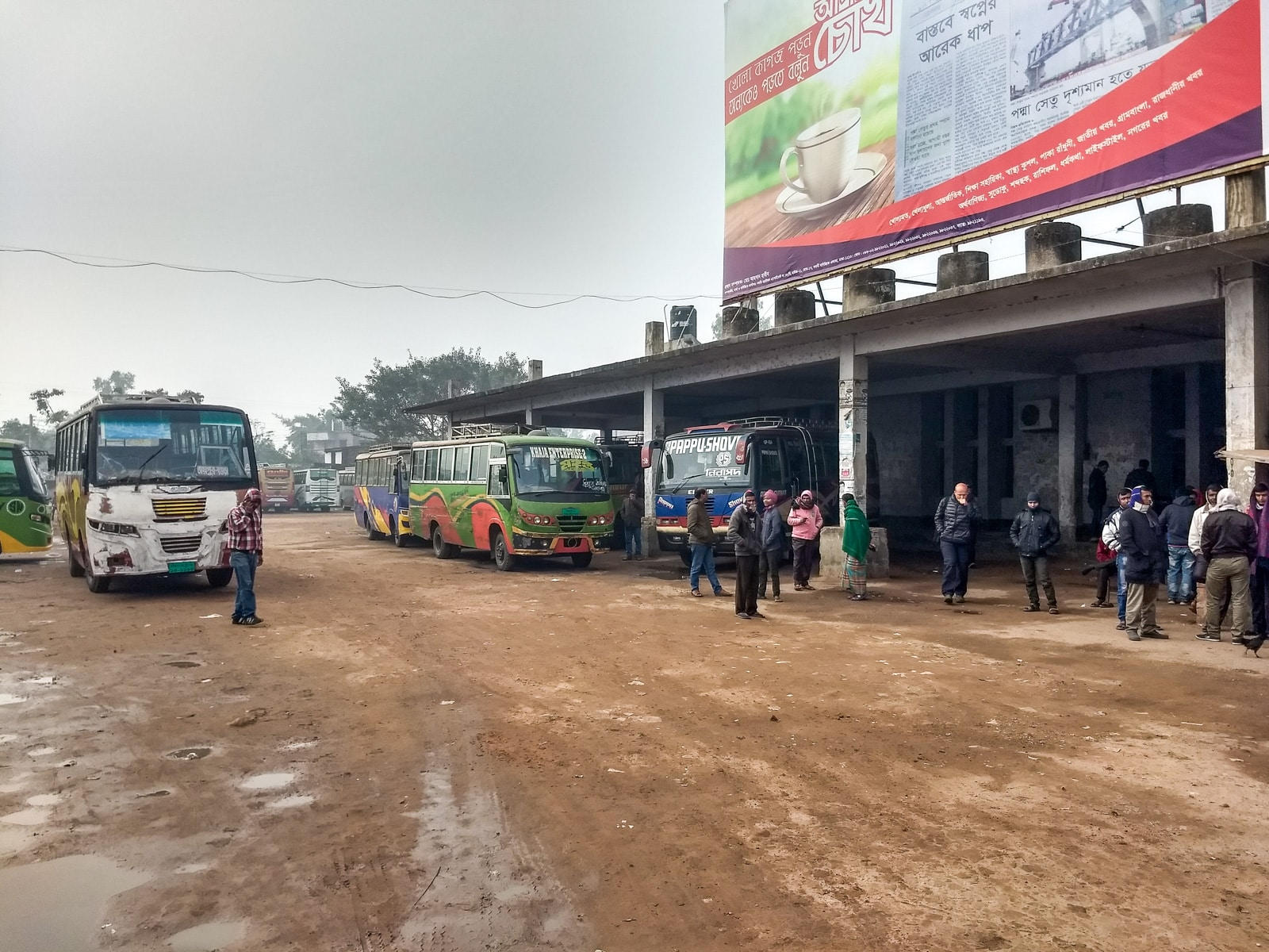 How to get from Bogra to Paharpur by public transport - Joypurhat bus stand in Bangladesh - Lost With Purpose travel blog