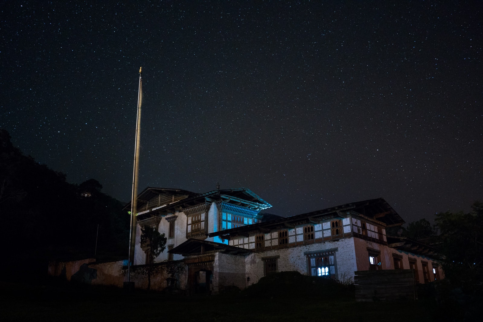 Best places to go off the beaten track in Bhutan - Stars over Kuengarabten palace - Lost With Purpose travel blog