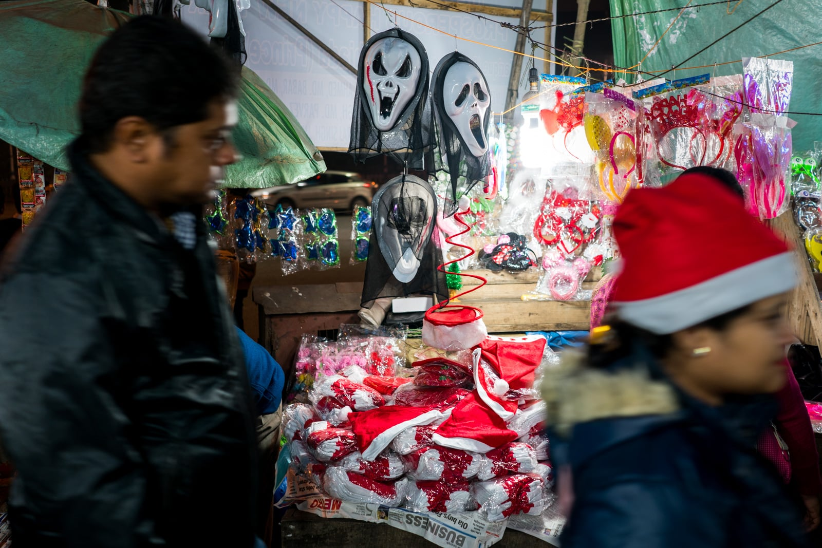 Celebrating Christmas in Kolkata, India - Scream masks on sale for Christmas - Lost With Purpose travel blog