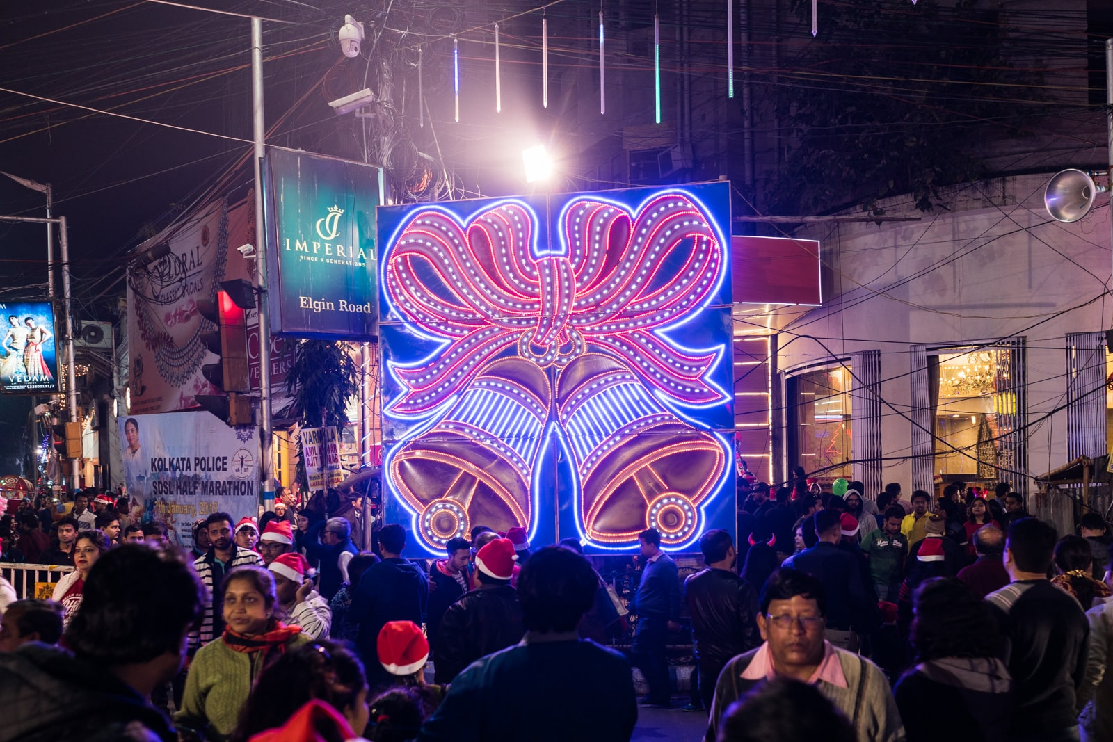 Celebrating Christmas in Kolkata, India - Lights on Park Street - Lost With Purpose travel blog