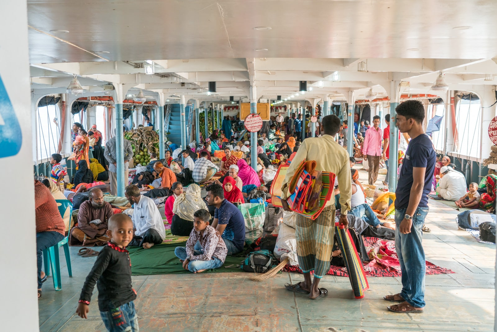 How to get a launch boat from Khulna to Dhaka via Hularhat - Floor area of launch - Lost With Purpose travel blog