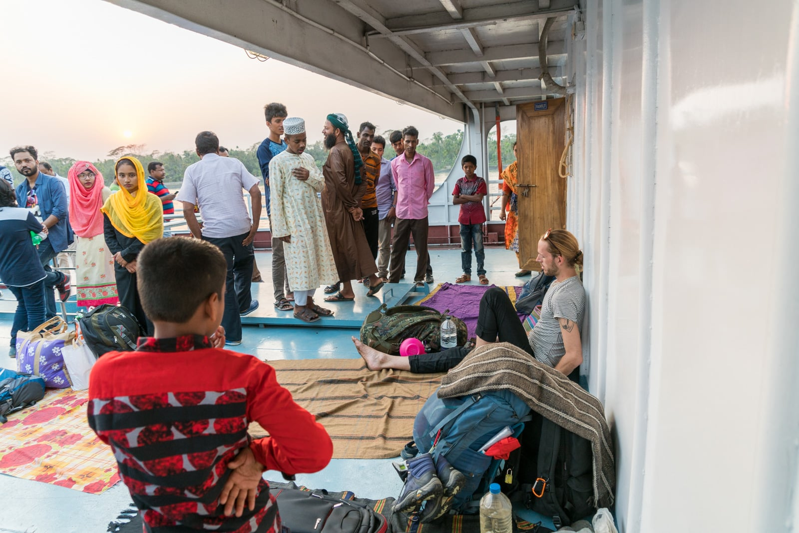 Launches from Hularhat to Dhaka, Bangladesh - People staring at a foreigner on the launch - Lost With Purpose travel blog