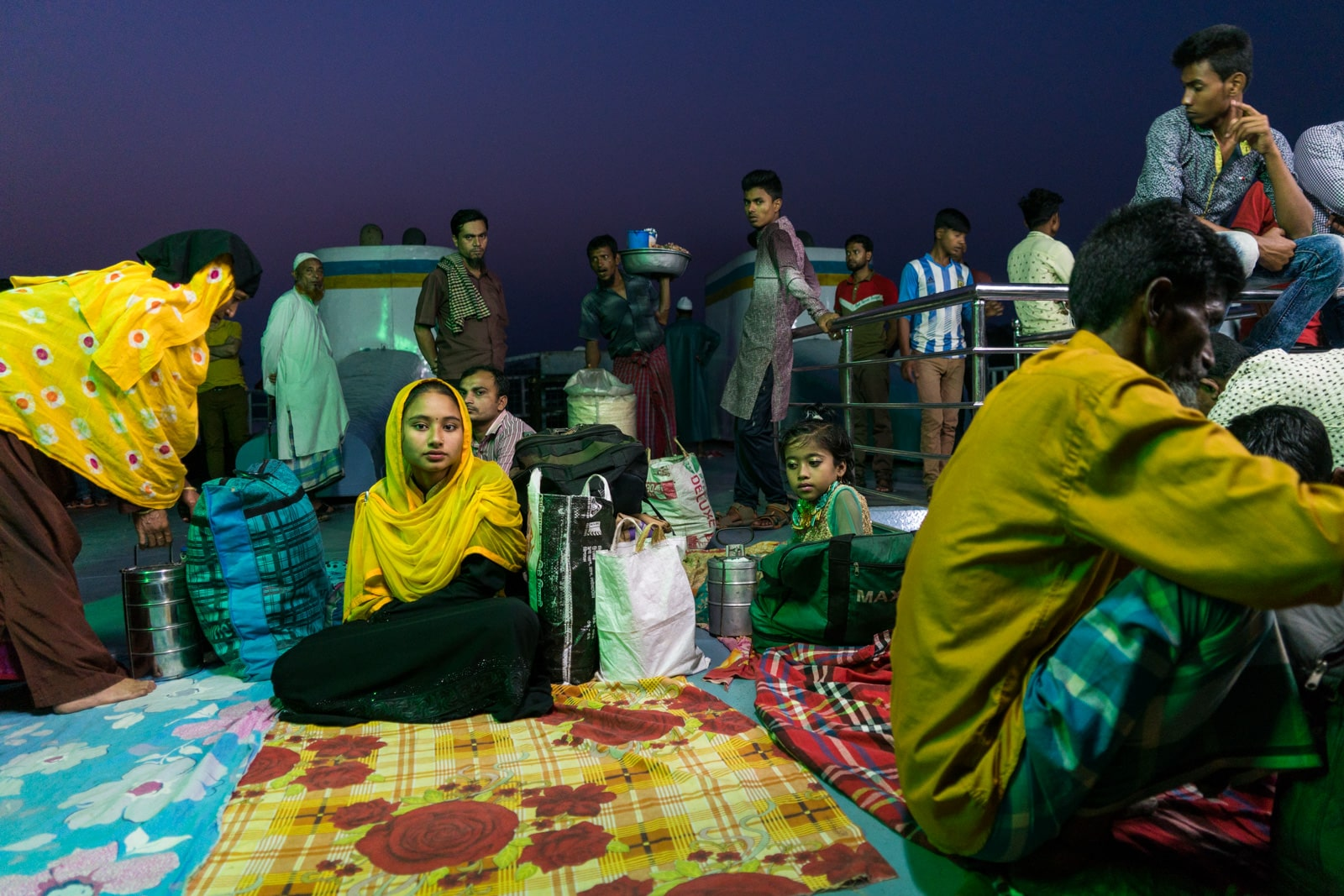 Launches from Hularhat to Dhaka, Bangladesh - Roof deck filled with people - Lost With Purpose travel blog