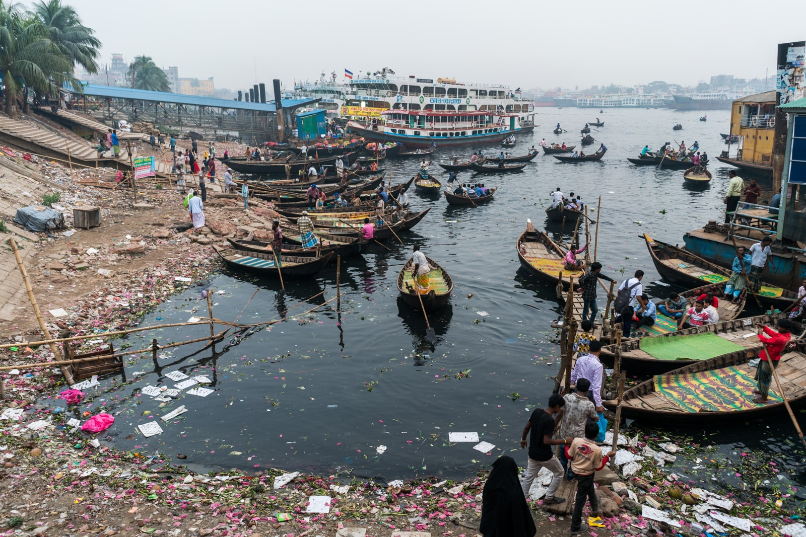 Guide to launches in Bangladesh - Black Buriganga river water in Dhaka - Lost With Purpose travel blog